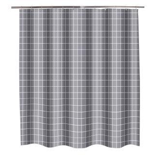 Rèm che bồn tắm chống nước và chống ẩm chất liệu polyester dày màu xám họa tiết lưới vuông