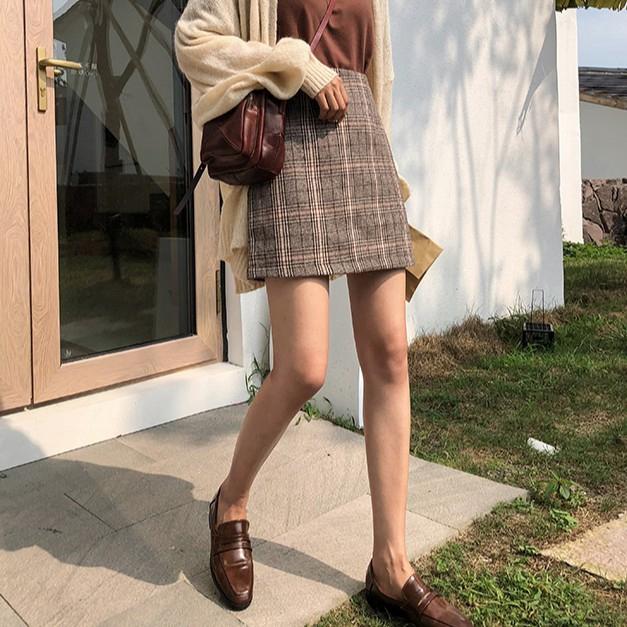Chân Váy Caro Lưng Cao Thời Trang Cho Nữ