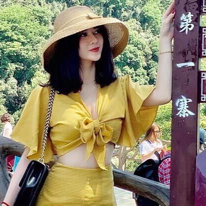 2563259638 - [SIÊU HOT] Set chân váy caro midi kèm áo nơ ngực Siêu xinh trẻ trung dành cho nữ