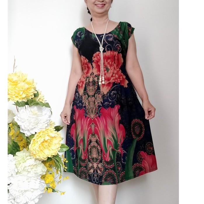 Váy Đầm Trung Niên Thun Eo Hoa Đẹp, Chất vải Thun Aty Chéo co Giãn 4 chiều, Có Túi, Có size từ 48KG - 68KG