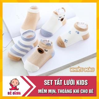 [Mã FASHIONT4FA giảm 10K đơn 50K] Set 5 đôi TẤT lưới KIDS hình thú mềm mịn, thoáng khí cho bé 0-2 tuổi thumbnail