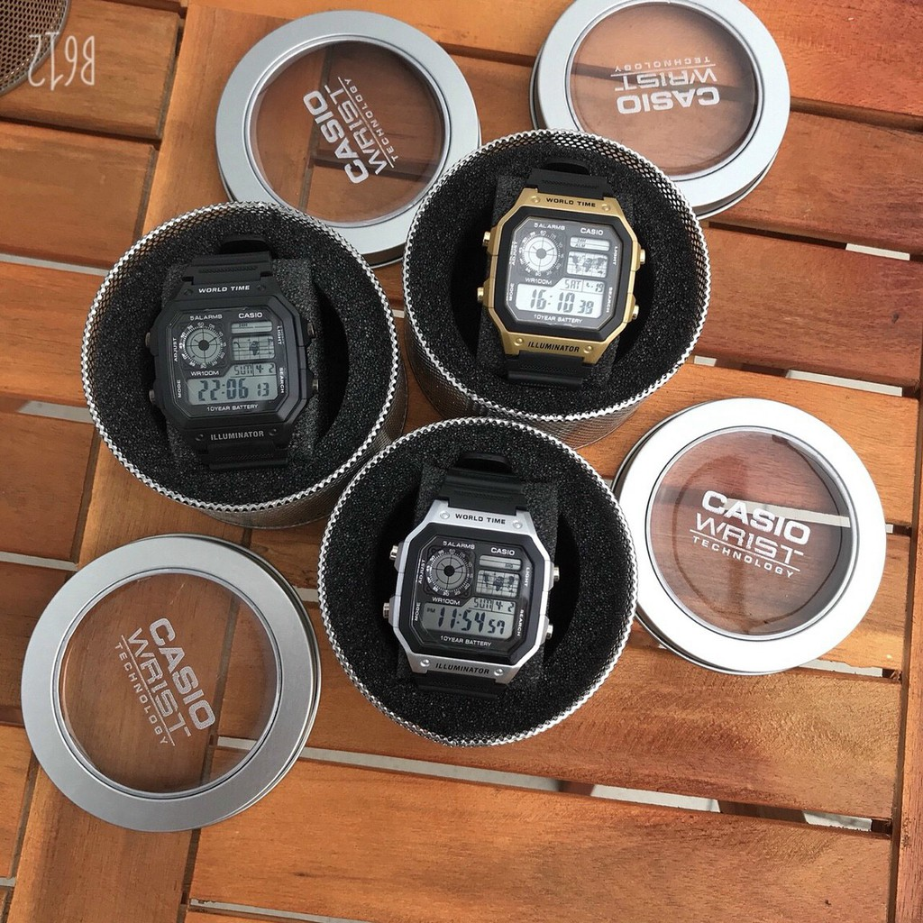 Đồng hồ điện tử nam caiso AE1200 dây cao su mềm mại, dành cho bạn trẻ năng động