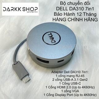 Bộ cổng chuyển đổi chính hãng Adapter/Hub Dell DA310 7in1 USB C to HDMI/VGA/Display Port/mạng LAN/USB C/2 USB A