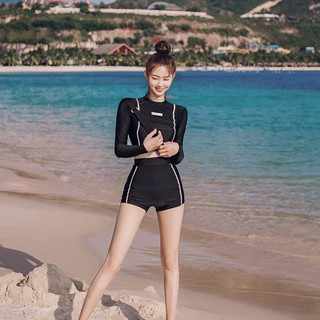 Korean style two-piece swimsuit women's long sleeve sun protection boxer cover your belly with high waist slim fit slimm