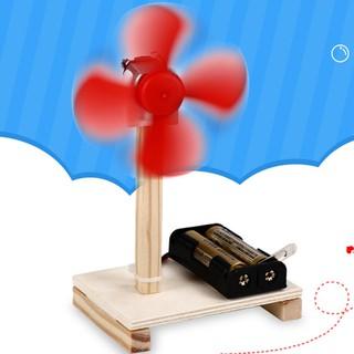 Wooden DIY Assembled Electric Fan Model Science Technology Education Kids Toy A30