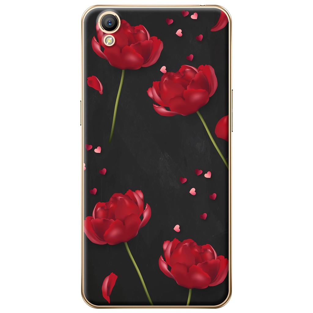 Ốp lưng nhựa dẻo Oppo Neo 9 (A37) Hoa đỏ đen
