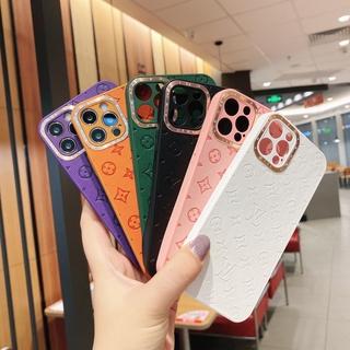 Ốp Điện Thoại Da Mềm Sang Trọng Dáng Vuông Bảo Vệ Camera Cho iPhone 12 11 Pro Max Mini X XS Max XR 7 8 Plus