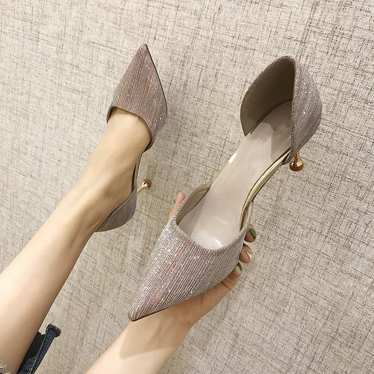 Spring 2020 new high-heeled shoes wild sexy thin heel French girl pointed shallow mouth single shoes female hollow sandals