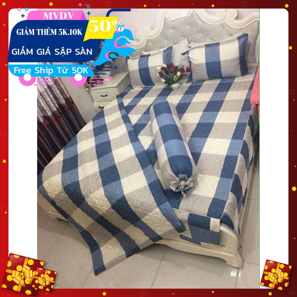 Chăn hè ga gối M6 M8 cotton poly set 4 món (inbox chọn hàng)