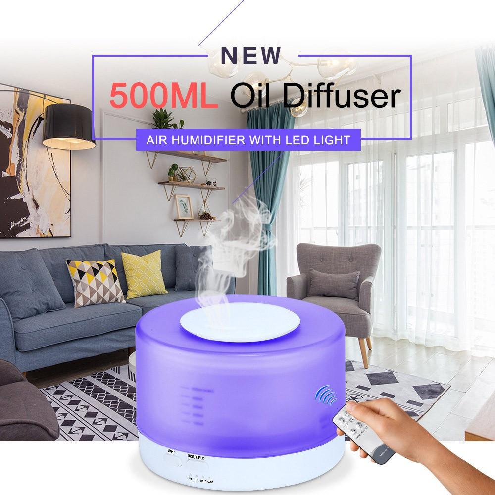 Máy khuếch tán phun sương tinh dầu đa chức năng cao cấp 500ml có remote tặng kèm tinh dầu bạc hà 10ml và sả chanh 10ml