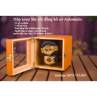 Hộp xoay đồng hồ - Vỏ gỗ tự nhiên - Lên dây cót cho 2 đồng hồ cơ thumbnail