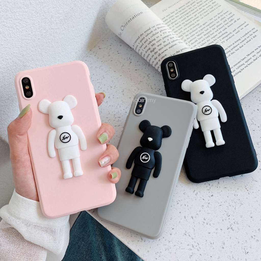 3D Solid Cute Kaws Toy Case Samsung A5 J3 J4 J5 J6 J7 J8 Plus 2016 2017 2018 Pro Cartoon Violent Bear Doll Phone Cover