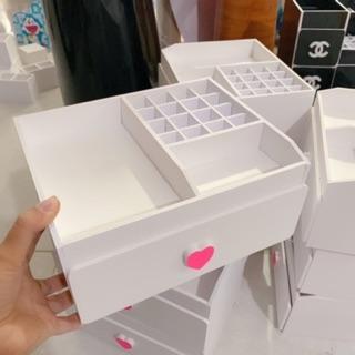 Yêu Thích[Mã HLXU1111 hoàn 20K xu đơn 50K] Kệ đựng mỹ phẩm nhỏ trắng tim hồng 16 ô son 25cm
