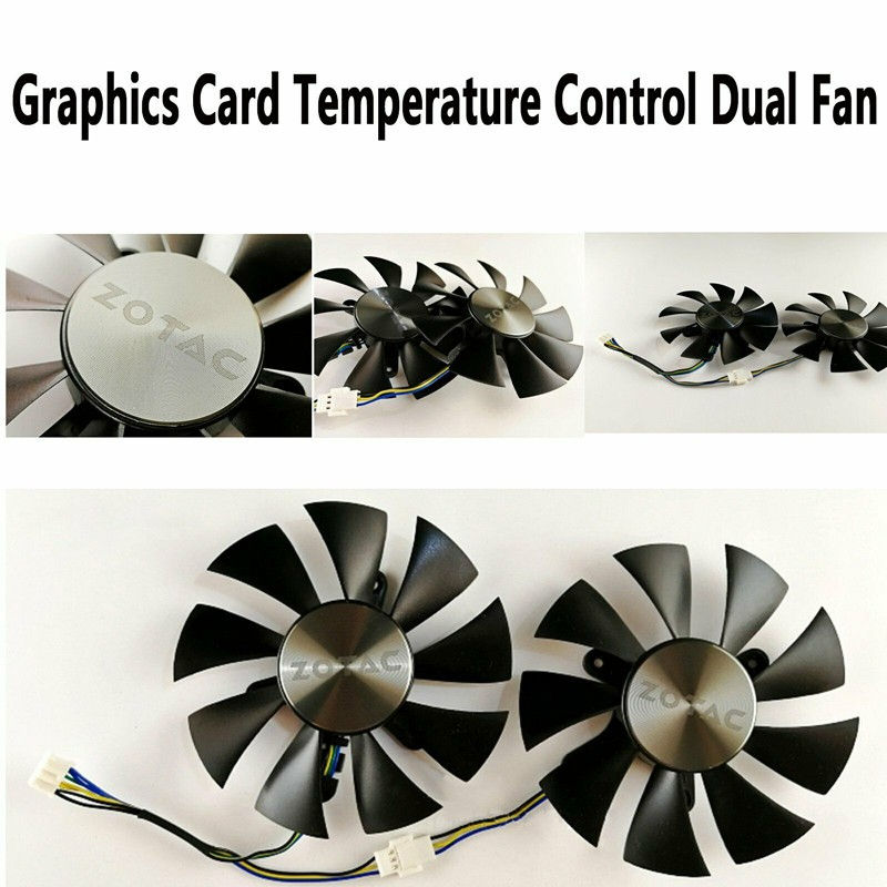 Graphics Card Four-wire Temperature Control Dual Fan for ZOTAC GTX960/1060/1070