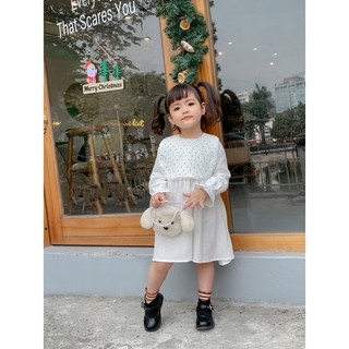 Váy Xô Muslin Váy Thiết Kế Cổ Yếm Cho Bé Gái Dạo Phố, Váy Xinh,Đầm Bé Gái, Đầm Xinh Có 3 Màu (Size 9-23kg)