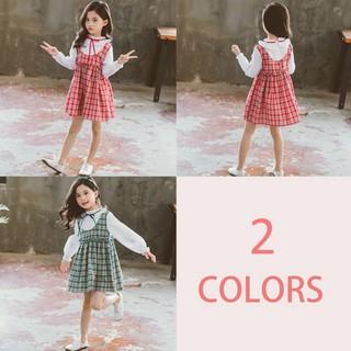Bady Girls Solid Print 2 Piece Design Long Sleeve Plaid Print Fake Dress Toddler Casual Sundress