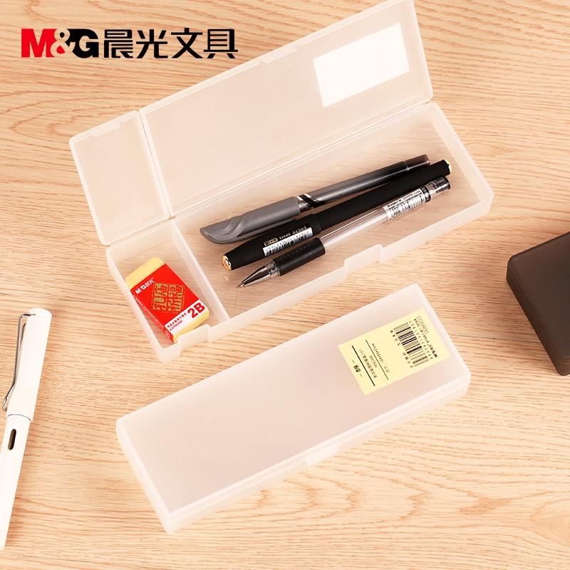 ☎Chenguang Pencil-Box white translucent simple sketch student plastic art small Fresh Girl scrub