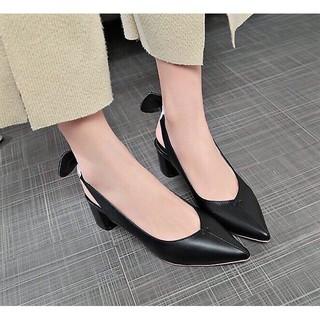Giày nữ cao gót quai chun nơ xinh xắn,A17