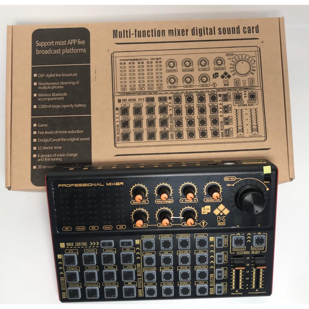 [Siêu Sale] Soundcard K300 AutoTune, hát karaoke, thu âm và livetream được cả 3 ĐT cùng lúc - giúp âm thanh trọn vẹn