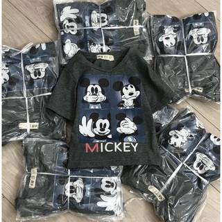 Áo cộc tay màu lông chuột chất liệu cotton HM in hình Mickey cho bé trai từ 2-10 tuổi