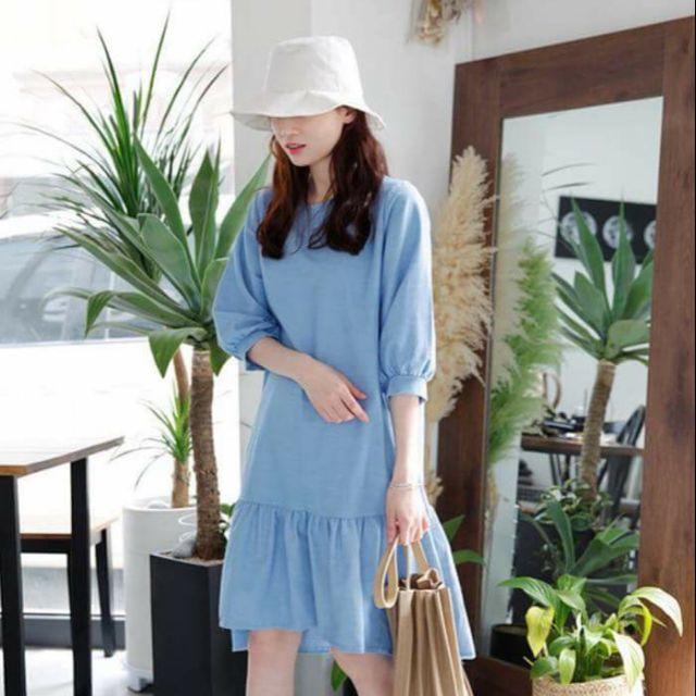 Đầm xanh đuôi cá (kèm hình thật)