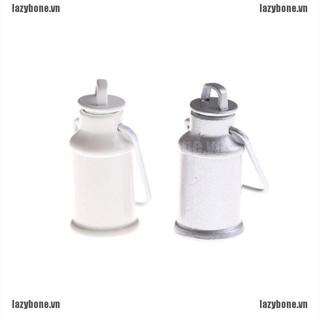 OM 1:12 Dollhouse Miniature Milk Jars Barrel With Lids Kitchen Milk Can Bucket KS