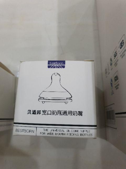 Núm ti bình gấu bestborn siêu mềm, lỗ chữ x, silicon cao cấp