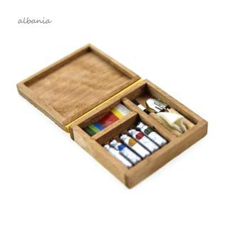 ❀AL❀1/6 1/12 Miniature Artist Paint Pen Wood Box Model Toys Dollhouse Accessories