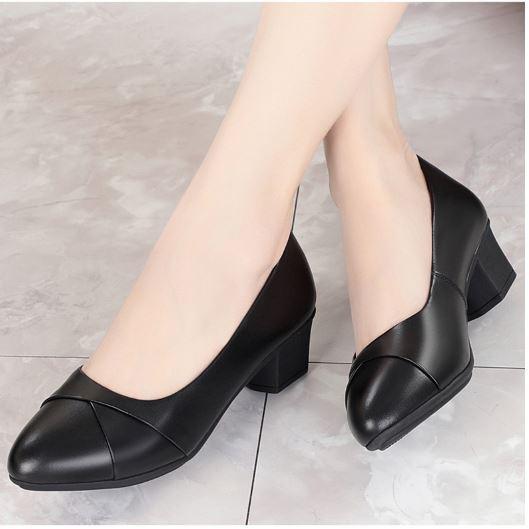 Hàng VNXK_M9_Giày cao gót nữ da lì 4cm siêu mềm êm chân xếp li xinh xắn kèm hình thật
