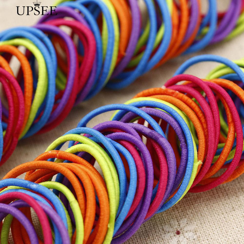 UPSEE 100 Pcs Mixed Hair Accessory Band Rope Ponytail Holder