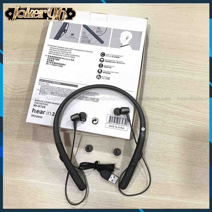 Tai Nghe Bluetooth Quàng Cổ H700 Pin Cực Trâu, Chống Nước, Hỗ Trợ Thẻ Nhớ, Chống Ồn - Tai Nghe Bluetooth Mini