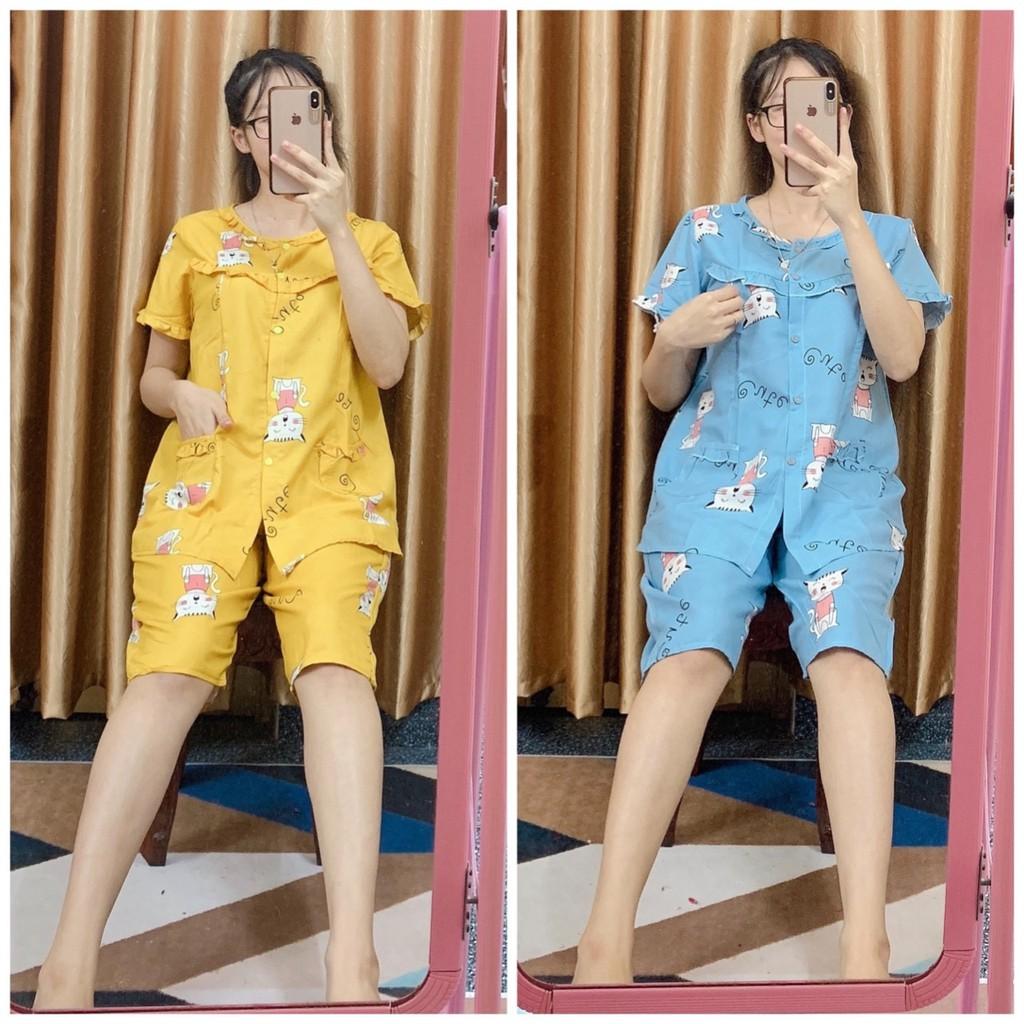 Bộ bầu và sau sinh LỬNG Xuân Hè cho con bú chất kate thái cho mẹ bầu mặc nhà, có size từ 48 - 85kg