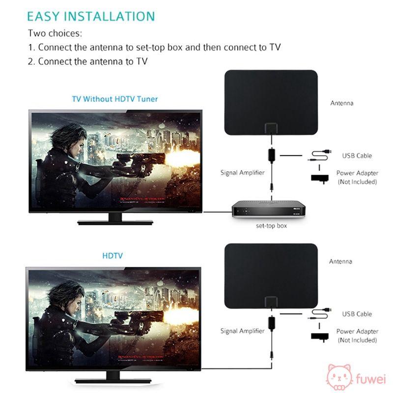 ♧ ราคาพิเศษ ♧ Mini Indoor Antenna TV Amplifier 50 Mile Range Digital UHF/VHF / HDTV ATSC