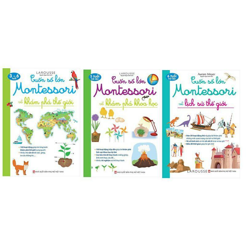 Sách.__.(Combo 3 Cuốn) Cuốn Sổ Lớn Montessori Về Khám Phá Khoa Học + Về Khám Phá Thế Giới + Về Lịch Sử Thế Giới