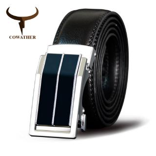 COWATHER Belt Men Cow Genuine Leather Belts Men Waistband Alloy Automatic Buckle Cowhide Male Strap Cowskin Male Strap