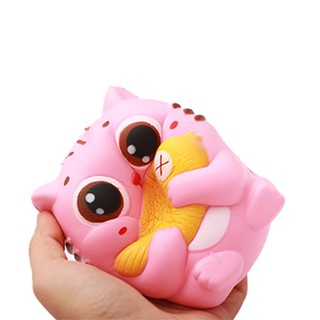 Key Chain 10CM Jumbo Kawaii Cat/Kitty Hold Fish Animal Slow Rising Squeeze Bread Cake Sweet Scented Gift