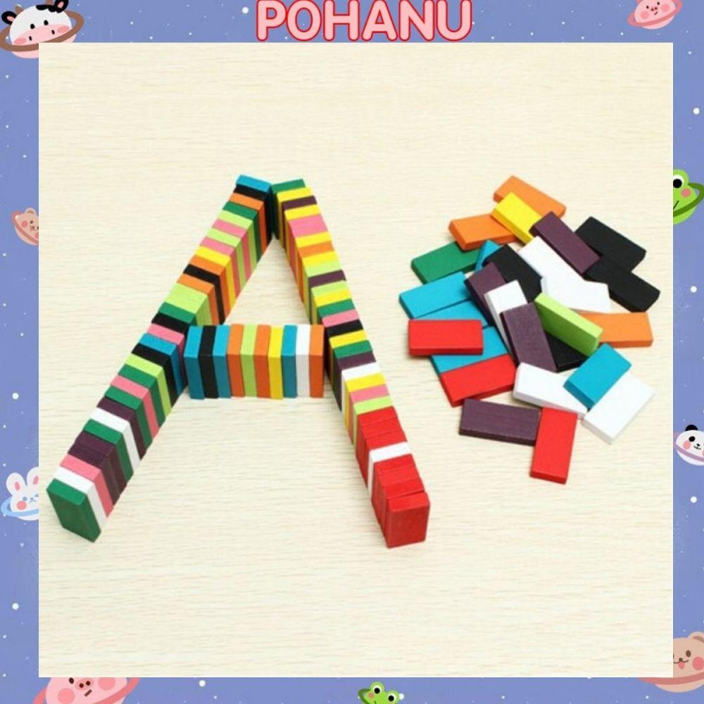 Domino Pohanu bộ đồ chơi gỗ rèn luyện trí tuệ 100 chi tiết đủ màu DMN11