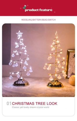 Cây Thông Noel Pha Lê Để Bàn Có Đèn Trang Trí Giáng Sinh thumbnail
