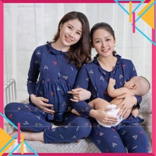 [HÀNG HÓT] Bộ bầu Bộ sau sinh BH cho con bú Kéo Khoá Ti, Cổ Bèo Cực Xinh thumbnail