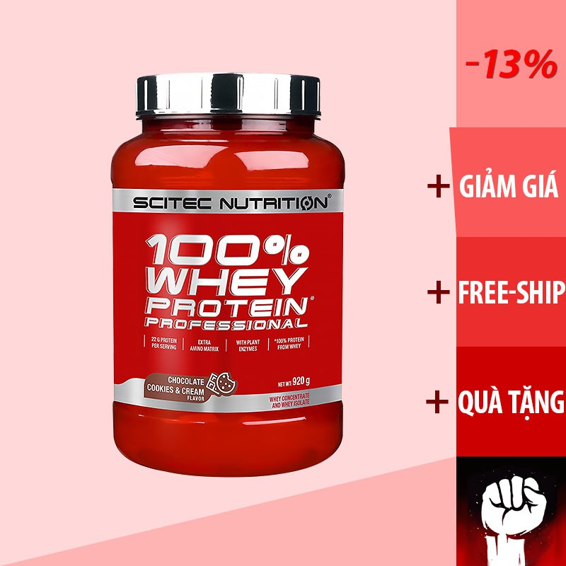 Whey | Whey Protein | Scitec 100% Whey Protein Professional - Sữa Tăng Cơ Không Tăng Mỡ 920g + TẶNG SHAKER giá rẻ