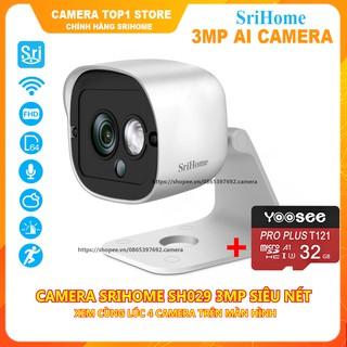 [Combo] Camera Ip WiFi SriHome SH029 NEW - 3Mpx Siêu Nét- Kèm Thẻ Nhớ 32Gb Chuyên Dụng thumbnail