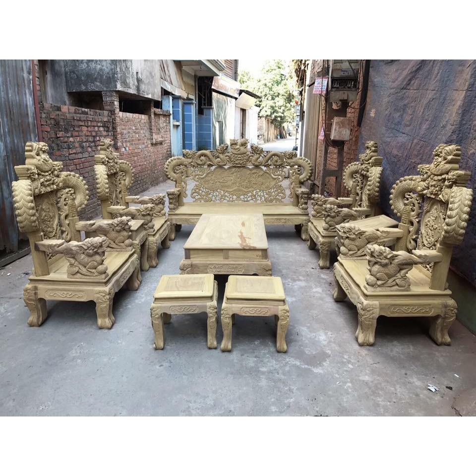 Bộ bàn ghế đồng kỵ kiểu nghê đỉnh tay khuỳnh gỗ cẩm