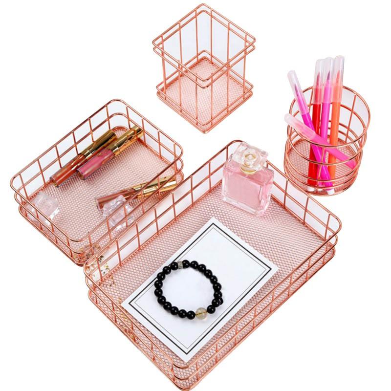 wrought iron storage basket rose gold desktop storage box debris modern home