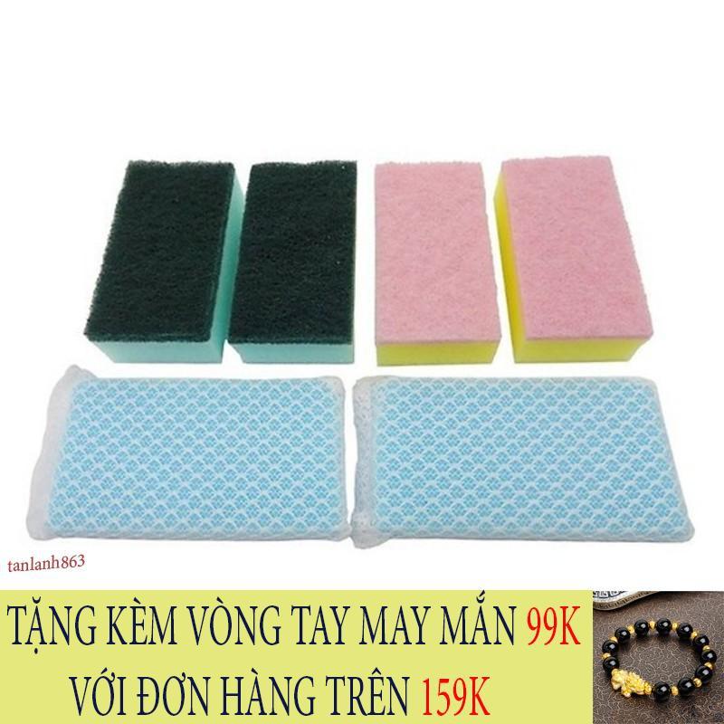 [CỰC RẺ] Set 5 miếng xốp rửa bát bọc lưới rửa cực sạch
