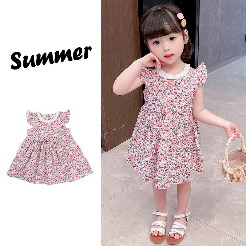 Váy, đầm CÁNH TIÊN CỔ PHỐI REN  mùa hè, họa tiết hoa nhí hồng mát mẻ, thoáng khí cho bé gái QATE23