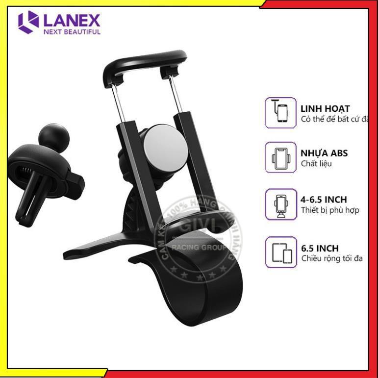 Giá đỡ điện thoại Lanex LHO-C06 trên xe hơi, sử dụng đa năng tiện dụng, tương thích các thiết bị 4-6.5 inch