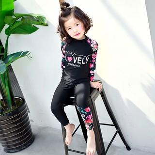 Đồ bơi bé gái tay dài quần dài in hoa-2 màu