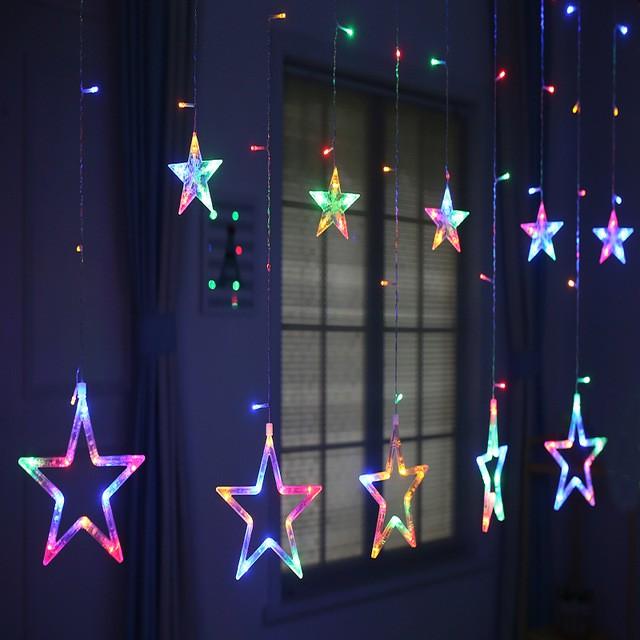 Dây đèn thả rèm ngôi sao 7 màu