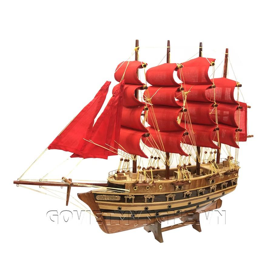 Mô Hình Thuyền Gỗ Chiến Cổ Jylland - Thân 40cm - Loại 2 - Buồm Đỏ