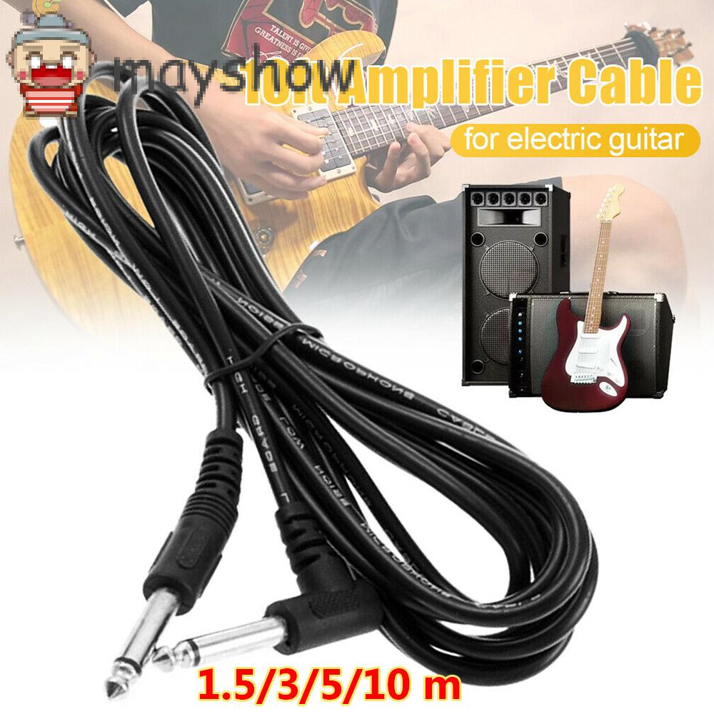 MAYSHOW 1.5/3/5/10 m 6.5mm to 6.5mm Portable Amp Cord Adapter Black Musical Instrument Electric Guitar Amplifier Cable Universal Professional Light High Quality Right Angle